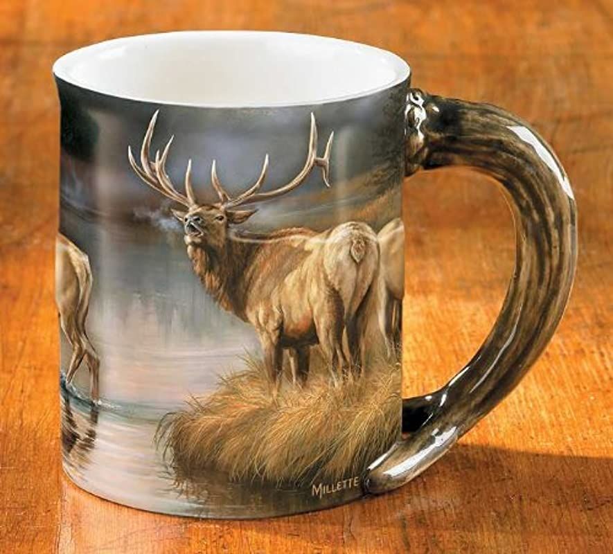 Wild Wings Autumn Mist Elk Sculpted Mug Assorted