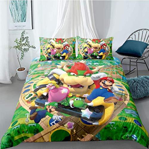 Super Mario - Funda de edredón de microfibra, funda de almohada con cremallera, comodidad para dormir, suave, juego de ropa de cama infantil (02, 220 x 240 cm (80 x 80 cm)