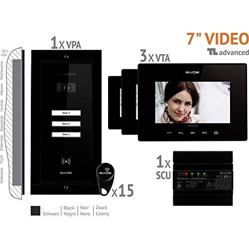 BELLCOME VKA.P3FR.T7S9.BLB04 Video-Türsprechanlage Kabelgebunden Komplett-Set 3 Familienhaus Schwar
