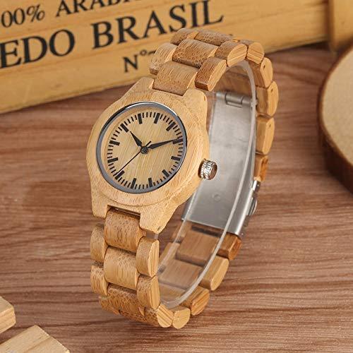 UIOXAIE Reloj de Madera Reloj Minimalista de Madera con Esfera Pura para Mujer, Reloj de Pulsera de Cuarzo con Banda de Madera Completa con Rayas pequeñas y Ajustables para niñas