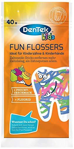 Dentek Fun Flossers Kids - Zahnseide-Sticks speziell für Kinder - mit Fruchtgeschmack - rutschfester Griff - bunte Farben, 1 X 40 Stk