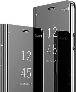 Compatibel met iPhone 12 Mini spiegelhoes lederen hoes Mirror Clear View Standing hoes leer + spiegel beschermhoes PU port...
