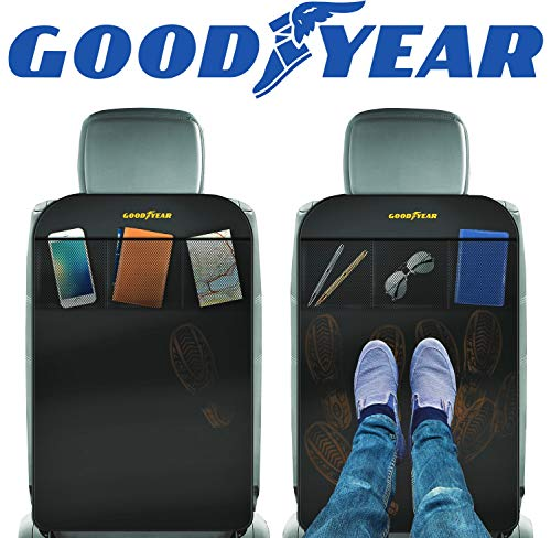Goodyear GY1219 / 2 Pack Waterproof Car Seat Protector/car seat Organizer, Wipeable Kick Mats, Universal fit, Built-in Storage Pockets, Easy to Clean, Backseat Dirt Guard