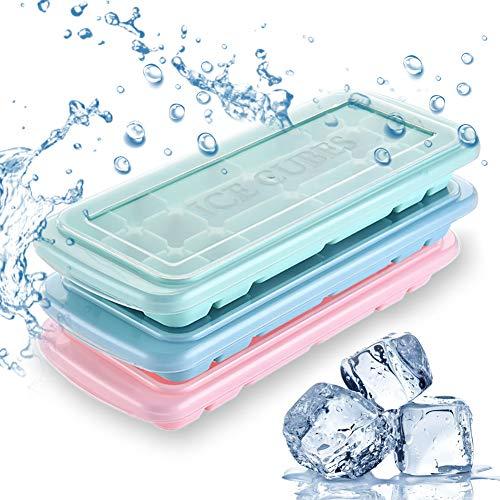 Bandejas para cubitos de hielo, 3 paquetes de silicona flexible de grado alimenticio con tapas, las mejores bandejas para bebidas frías, whisky, cóctel y más