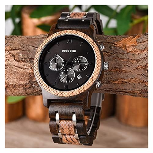 yuyan Reloj de Madera de Negocios para Hombres Deportes Japonés Movimiento de Cuarzo Hecho a Mano Combinación de Madera Natural de tecnología y Naturaleza Navidad Día de San Va