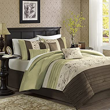 Madison Park Serene King Size Bed Comforter Set Bed in A Bag - Green, Embroidered – 7 Pieces Bedding Sets – Faux Silk Bedroom Comforters