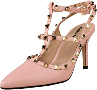 Studded Heel for Women Rivets Studded Strappy Pointy Toe Studs Heels Slingback Dress Party Sandals
