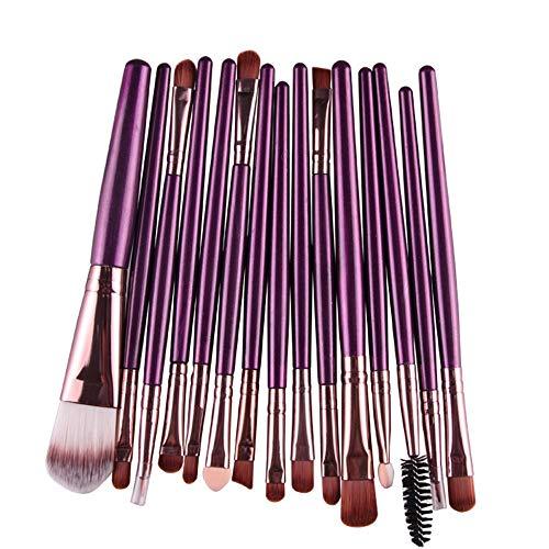 Pinceau de maquillage pratique Kit de maquillage pour outils de maquillage Pro Makeup Poudre de fard à paupières Ombre à paupières Pinceau à lèvre en poils souples en fibre (15 pcs) Maquillages