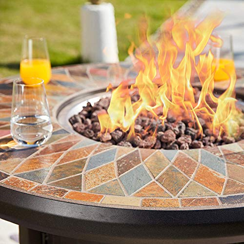Why Choose Powder Coated Natural Slate Top Outdoor 50,000 BTU Propane Fire Pit with Metal Cover- Bro...