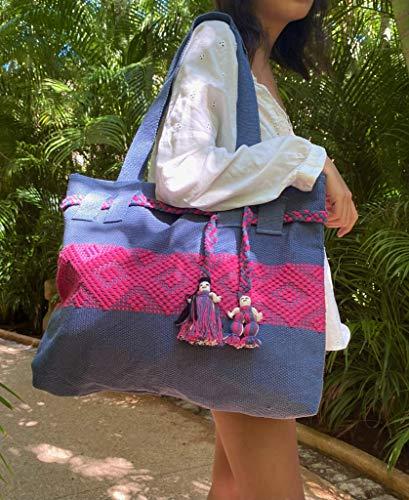 Bolsa Bordada en Telar de Cintura Color Azul Mezclilla con Rosa Bugambilia
