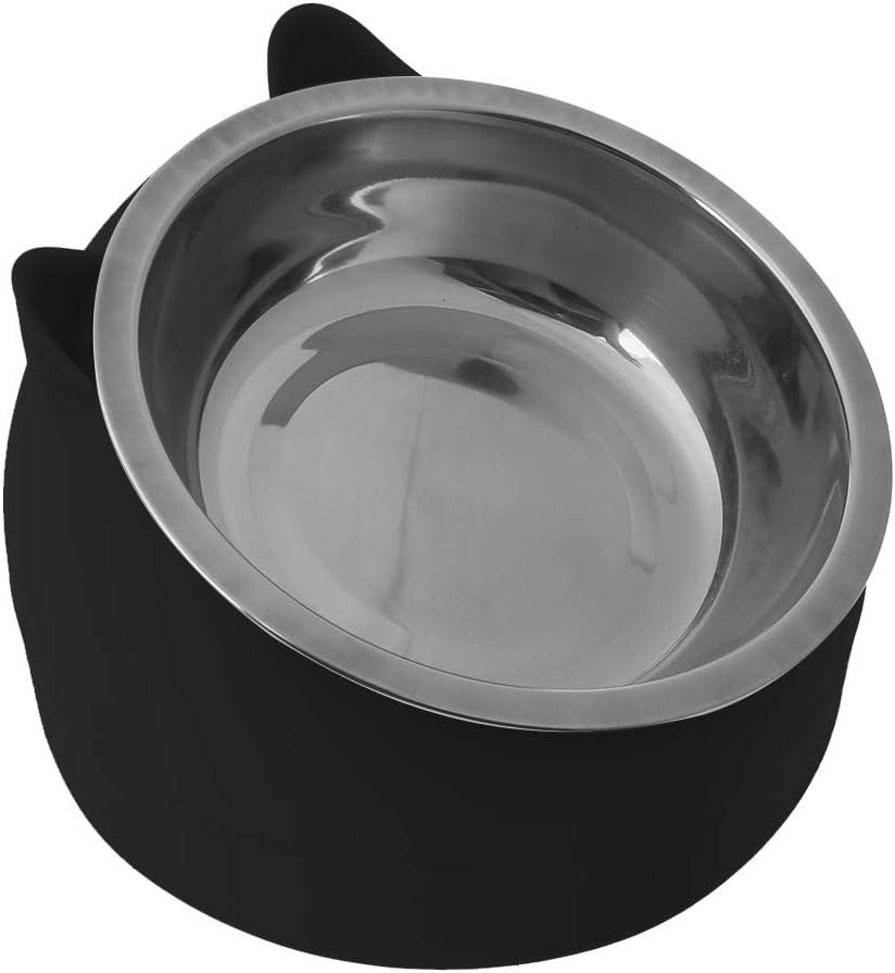 BELTI Cuenco de Comida para Perros de Gatos de Acero Inoxidable Contenedor de Utensilios para Mascotas Antideslizante Inclinado 15 /°