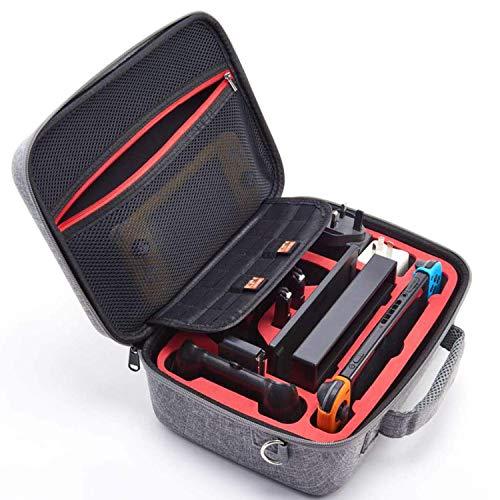 Intckwan Tasche für Nintendo Switch Console, Pro Controller & Zubehör und 14 Spielekassetten, passende Schutzhülle mit weichem Futter, grau