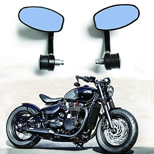 1 par de Espejos Retrovisores para Motocicletas CNC 7/8 '22MM Universal Espejo Lateral del Extremo de la Barra del Manillar Negro para Scooter