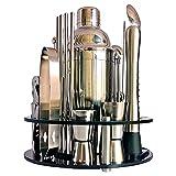 Bartender Kit de 30 piezas Cocktail Shaker Whirl Redondo Soporte Casa DIY Traje para bebidas mixtas Martini Bar Herramientas Set Acero inoxidable (Color : Silver, Size : 750ML)