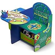 Delta Children Chair Desk with Storage Bin - Ideal for Arts & Crafts, Snack Time, Homeschooling, Homework & More, Ninja Turtles