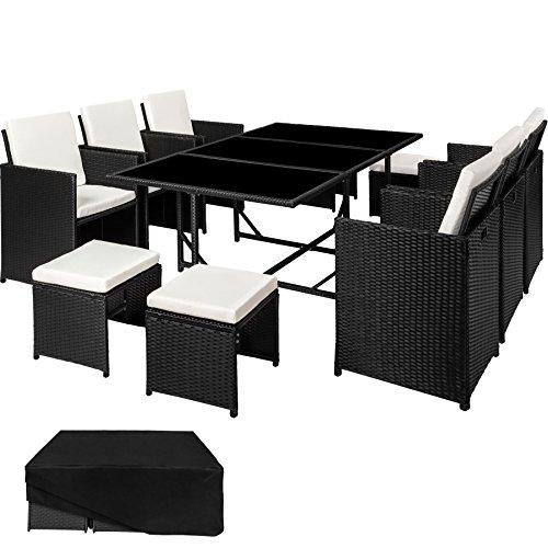 TecTake 800821 Set di Mobili Poli Rattan, Arredamento da Giardino, 6X Sedie 1x Tavolo con 3 Lastre di Vetro 4X Sgabelli, Involucro Protettivo, Nuovo (Nero)