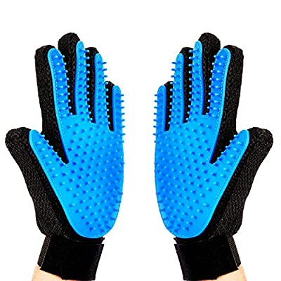 [Upgrade Version] Pet Grooming Glove-Massage Tool Cleaning Shower Gentle Deshedding Brush Hair Remover Mitt with Enhanced Five Finger Design Long & Short Fur Comb for Dogs/Cats One Pair by Meetest by Meetest Gadget