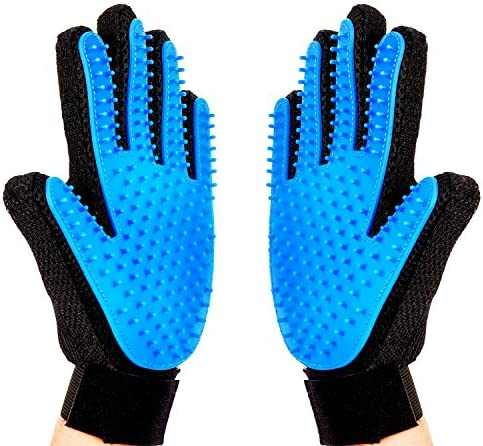 [Upgrade Version] Pet Grooming Glove-Massage Tool Cleaning Shower Gentle Deshedding Brush Hair Remover Mitt with Enhanced Five Finger Design Long & Short Fur Comb for Dogs/Cats One Pair by Meetest