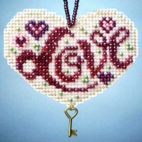 Love Beaded Counted Cross Stitch Charmed Ornaments Kit Mill Hill 2013 I Love MH163106 by Mill Hill