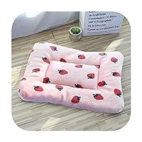 ペットの犬のマットフランネルコットン足のフットプリント洗えるペットの毛布コーラルフリースベッド中小犬用アクセサリー -Strawberry-110x75cm