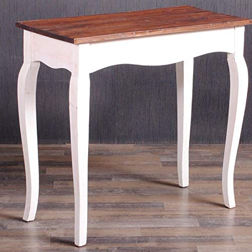 LEBENSwohnART Konsole JACAPO White-Brown Mahagoni Konsolentisch Flurtisch Tisch Schreibtisch