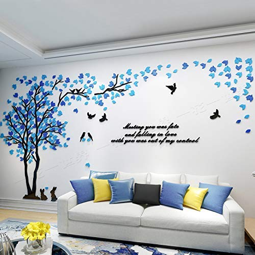 KINBEDY Acrylic 3D Tree Wall Stickers Wall Decal Easy to Install &Apply DIY Decor Sticker Home Art Decor. Mixed Blue Leaves Left, XL.