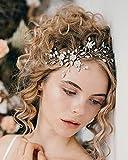 Unicra Diadema para novia de boda con flores plateadas y cristales de perlas para el pelo para mujeres y niñas