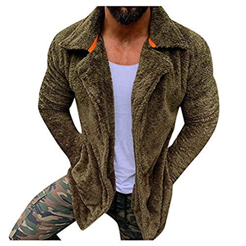 KPILP Herren Teddy-Fleece Jacke Flauschiger Sweatshirt Langarm Winterjacke mit Taschen Warm Plüsch Mantel Outwear Tops mit Revers Kragen
