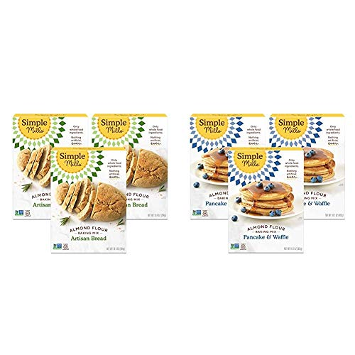 Simple Mills Almond Flour Baking Mix, Gluten Free Artisan Bread Mix, Made with whole foods, 3 Count & Almond Flour Pancake Mix & Waffle Mix, Gluten Free, Made with whole foods, 3 Count