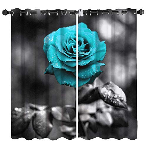 VividHome Window Panels Curtain Fabric Teal Blue Rose Curtain for Bedroom Decor Flower Window Treatments Light Protection for Home Kitchen Living Room 53x64inchx2panels
