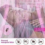 AIMTOP Moskitonetz Bett, Prinzessin Moskitonetz Mückennetz für Reise und Zuhause, Moskitonetz Bett Insektennetz Betthimmel für Doppelbett & Einzelbett, inkl. Klebehaken, Höhe 260 cm, Rosa - 3