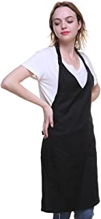 Meychin V Neck Collar Apron Women Men 32-inch Length 23-inch Width - (V-Black)