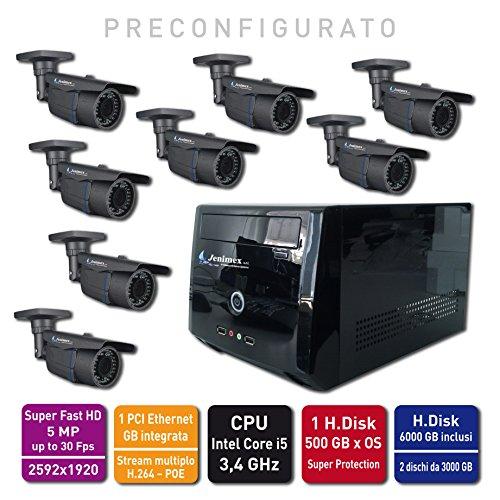 Kit Videosorveglianza IP Super HD e Super Fast 5MP : NVR +8 Camere IP Super HD 2592x1920 e Super Fast preconfigurazione e supporto tecnico del produttore per 12 mesi