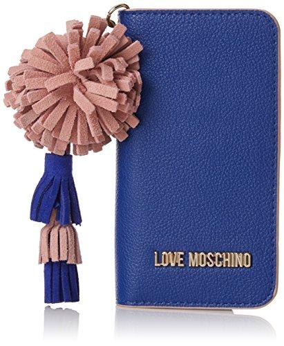 Love Moschino Portacel.small Grain Pu Blu, Pochettes femme, Bleu (Blue), 1x15x8 cm (B x H T)