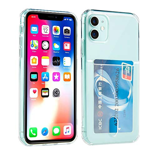 Wormcase ® Kunststoffhülle mit Kartenfach kompatibel für das Appel iPhone 11 - Transparent - TPU Schale Back-Cover Schutz-Tasche Kratzfest Stoßfest Bumper Crystal-Clear dünn leicht schmal