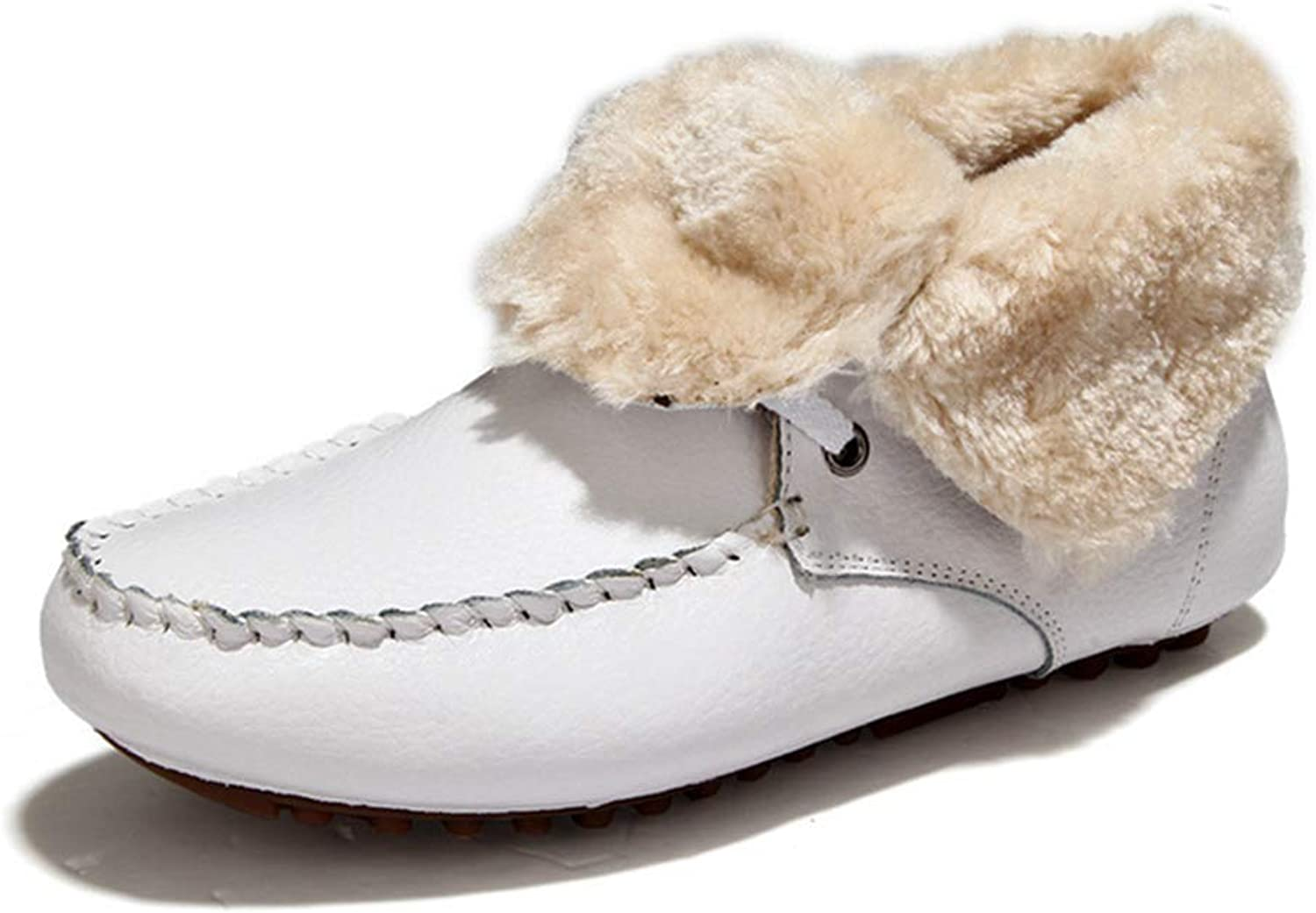 Zarbrina Womens Low Heel Fur Lined Ankle Boots Fashion Winter Short Plush Round Toe Lace Up Slip On Fleece Warm Snow shoes