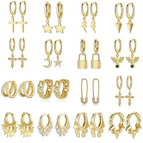 MALAT Pendientes de aro de Cadena de Plata de Ley 925 para Mujer Zirconia cúbica Luna Estrella Cruz Colgante Aros-Coral