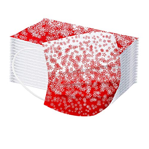KIFE Gradient Color With Christmas Snowflake Disposable_Face_Mask,3-Ply Adult Cover Protection with Ear Loop,Breathable Comfortable Non-Woven Cover for Personal,Indoor/Outdoor Women Men-Red,20 PC