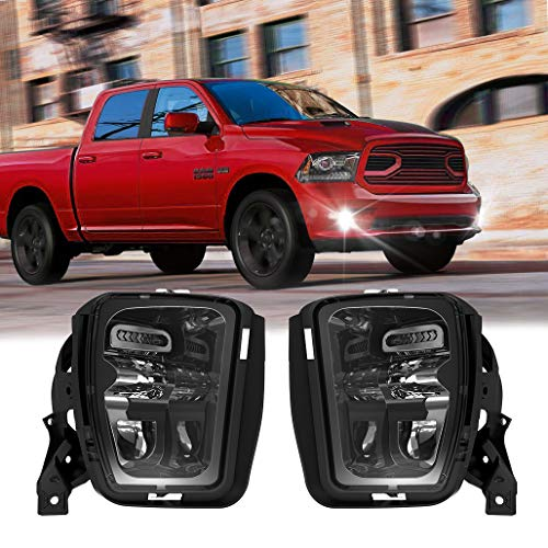 Z-OFFROAD New Version LED Fog Lights Compatible with Dodge Ram 1500 2013 2014 2015 2016 2017 2018 Bumper Driving Fog Lamps Replacement – 1 Pair Black