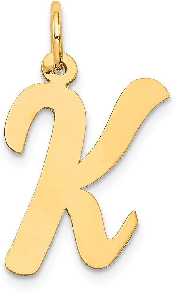 Solid 14k Yellow Gold Large Script Initial Letter K Alphabet Charm Pendant 22mm