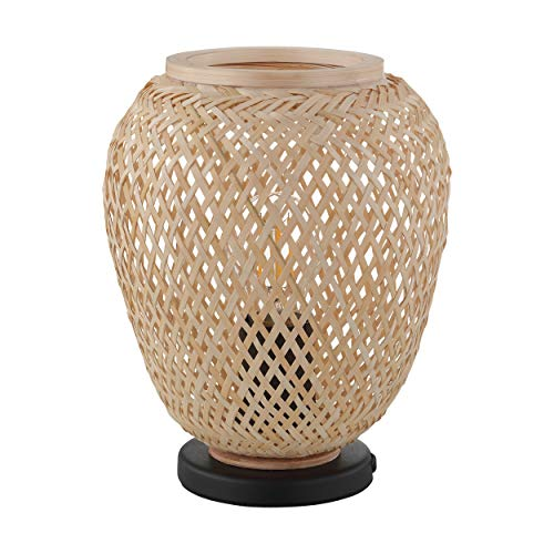 Lámpara de mesa EGLO Dembleby, 1 lámpara de mesa vintage, natural, higro, lámpara de noche de madera trenzada en marrón claro, lámpara con interruptor, acero, casquillo E27, color negro natural