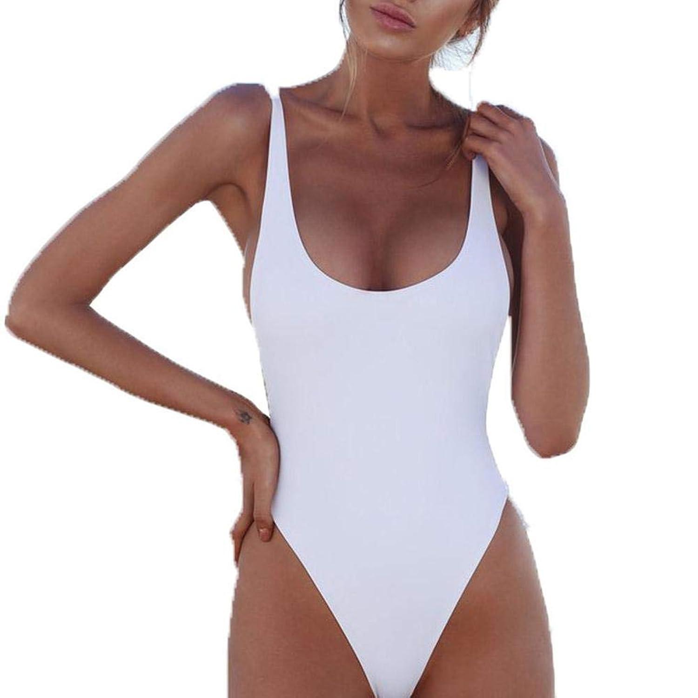 Duevin ビキニ 水着 レディース オールインワン スクール水着 無地 弾力性 可愛い セクシー スイミング ビーチ プール 五色