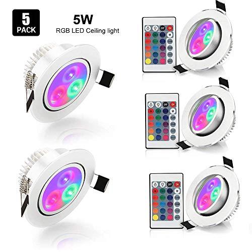 LED Einbaustrahler Flach Schwenkbar 85-265V 5er 5W RGB Rund Spots Strahler Einbauleuchte Einbauleuchten Farbwechsel Farbige Deckenleuchte Strahler Lampe weiß mit Fernbedienung
