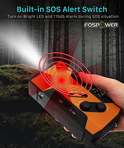Product Image 3: FosPower Emergency Solar Hand Crank Portable Radio, NOAA Weather Radio for Household and Outdoor Emergency with AM/FM, LED Flashlight, Reading Lamp, 2000mAh Power Bank USB Charger and SOS Alarm