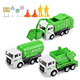 Toy Vehicles Set 3 Pack Sanitation Truck Car Model Garbage Trucks Water Tanker Playset with 8 Signpost Friction Power for Boys Age 3 and UP Toddlers Kids Holiday/Birthday Gift Children
