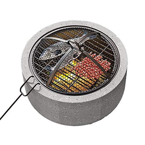 BBZZ Feuerstelle für den Außenbereich, Durchmesser 45 cm, Beton, rund, Holzkohle und Holzofen, Lagerfeuer für Außenbereich, Terrasse, Garten, Hinterhof, grau