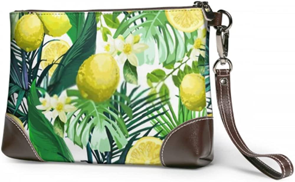 Wristlet Handbag Lemon Excellence Flowers Leaves Leather Tropical Limited time trial price