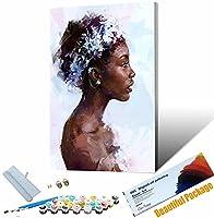 手塗り デジタル油絵 アフリカの女の子のポーター DIYペイント番号キット アクリルキャンバスにペイントと 30x45cm DIYフレーム