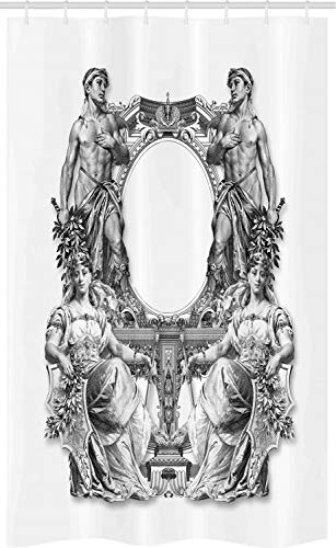 ABAKUHAUS viktorianisch Schmaler Duschvorhang, Antike barocke Krone, Badezimmer Deko Set aus Stoff mit Haken, 120 x 180 cm, Schwarz Weiss