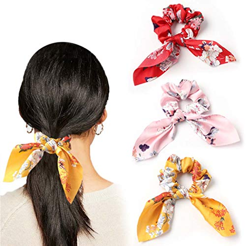 Genglass Boho Elastics Haar Haargummis Blumen Bogen Haargummis Rote Haare Accessoires für Frauen Mädchen 3er-Pack